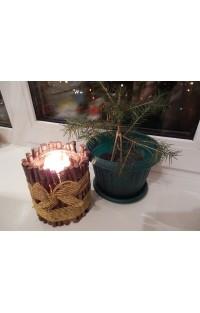 Подсвечник своими руками (из банки и веточек) на Рождество Христово, на Новый год